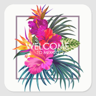 Autocollant tropical d'accueil de bouquet floral