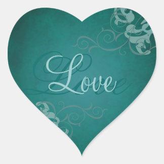 Autocollant turquoise d'amour de coeur turquoise