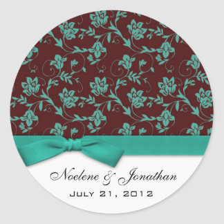 Autocollant turquoise de fleur de mariage d'arc