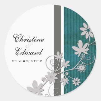 Autocollant turquoise de mariage de fleur