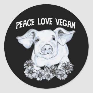 Autocollant végétalien de porc d'amour de paix
