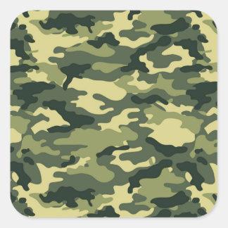 Autocollant vert de carré de motif de camouflage