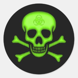 Autocollant vert de crâne de Biohazard