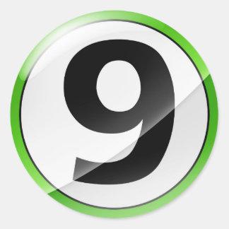 Autocollant vert du numéro 9
