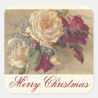 Autocollant victorien vintage de roses de Noël
