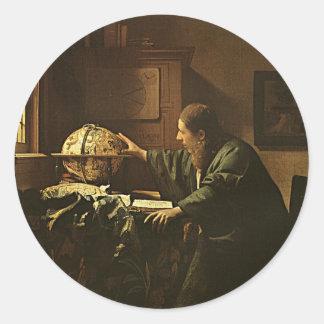 Autocollant vintage d'astronome de Vermeer