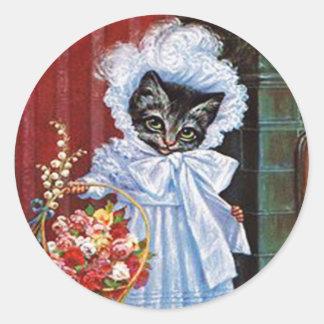 Autocollant vintage de chat, Arthur Thiele