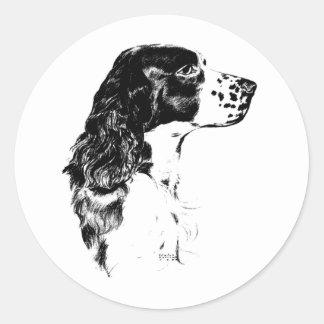 Autocollant vintage de chien d'épagneul de