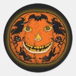 Autocollant vintage de Halloween Jack O'Lantern