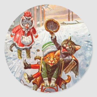 Autocollant vintage de Noël, chats d'Arthur Thiele