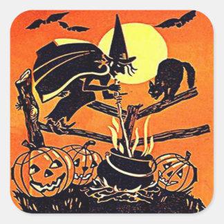 Autocollant vintage de sorcière de Halloween
