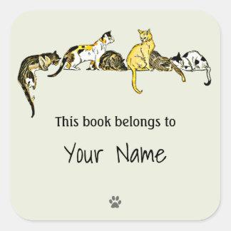 Autocollant vintage d'ex-libris d'art de chat