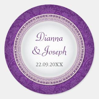 Autocollant violet baroque de mariage de plaque