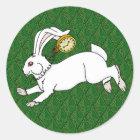 Autocollants blancs BG verte de lapin