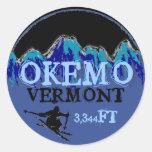 Autocollants bleus d'altitude d'art de ski d'Okemo