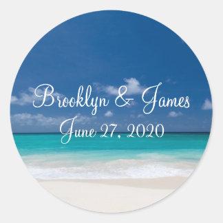 Autocollants bleus de mariage de plage
