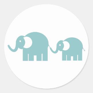 Autocollants bleus d'éléphants