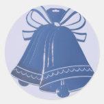 Autocollants bleus d'enveloppe de Bells de mariage
