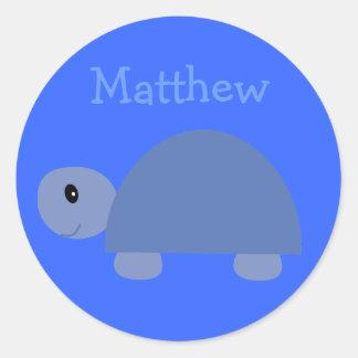 Autocollants bleus mignons de tortue de bande