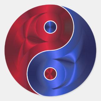 autocollants bleus rouges de yang de yin