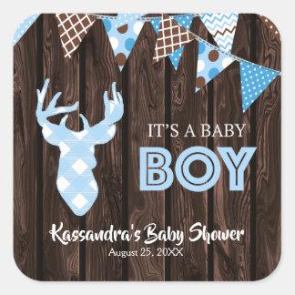 Autocollants bleus rustiques de baby shower de