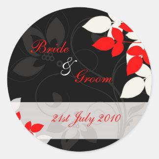 Autocollants - bourrasque florale - noir et rouge