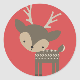 Autocollants brillants ronds de renne de Noël