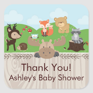 Autocollants carrés de baby shower de créatures de