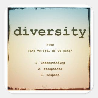 Autocollants carrés de diversité, brillant,