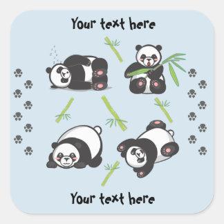 Autocollants carrés de pandas de Kawaii