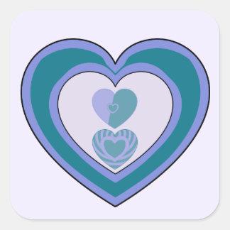 Autocollants carrés décoratifs de coeurs bleus