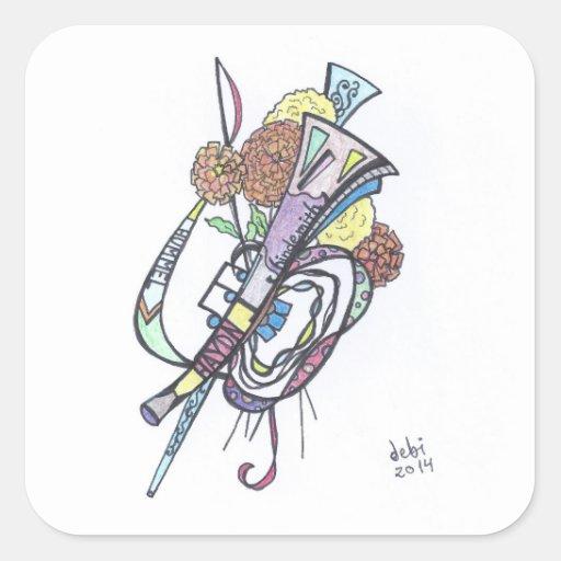 autocollants carrés--trompette