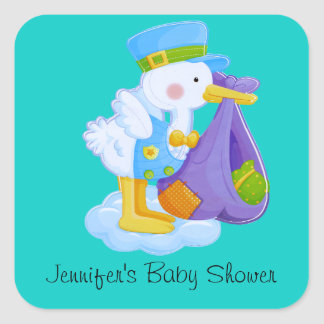 Autocollants de baby shower de cigogne