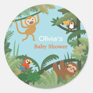 Autocollants de baby shower de thème de jungle