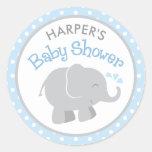 Autocollants de baby shower d'éléphant   bleu et