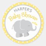 Autocollants de baby shower d'éléphant | jaune et