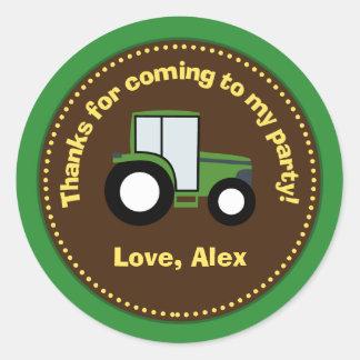Autocollants de cadeau d'anniversaire de tracteur