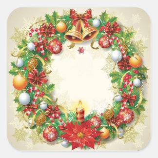 Autocollants de carré de guirlande de Noël