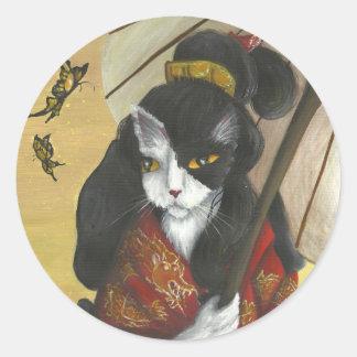Autocollants de chat de kimono