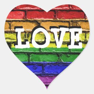 Autocollants de coeur d'amour de mur de briques