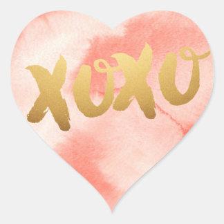 Autocollants de coeur d'aquarelle de rose d'amour