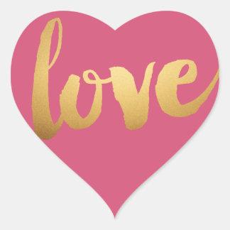 Autocollants de coeur de rose d'amour d'or