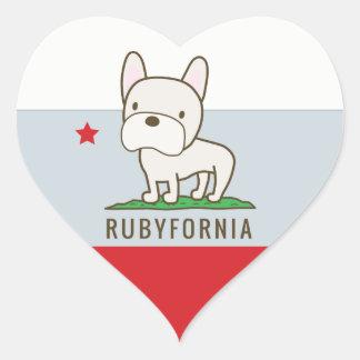 Autocollants de coeur de Rubyfornia