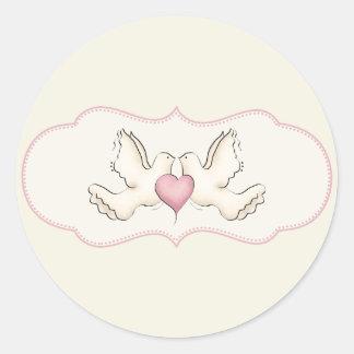 Autocollants de colombes d'amour