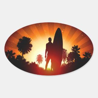 Autocollants de coucher du soleil de surfer