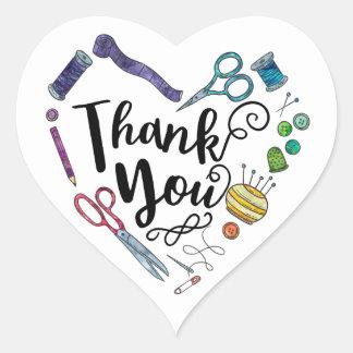 Autocollants de couture de Merci de coeur d'outils
