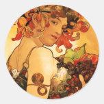 Autocollants de fruit d'Alphonse Mucha