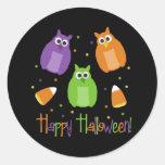 Autocollants de Halloween de hibou et de bonbons a