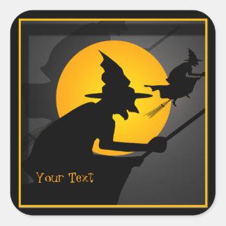 Autocollants de Halloween de sorcière de vol