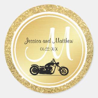 Autocollants de mariage de moto de monogramme de